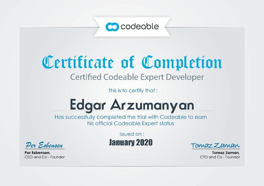 Codeable Expert Certificate Edgar Arzumanyan